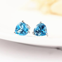 gemstone jewelry factory wholesale 925 silver natural blue topaz stud earrings for women party anniversary gift