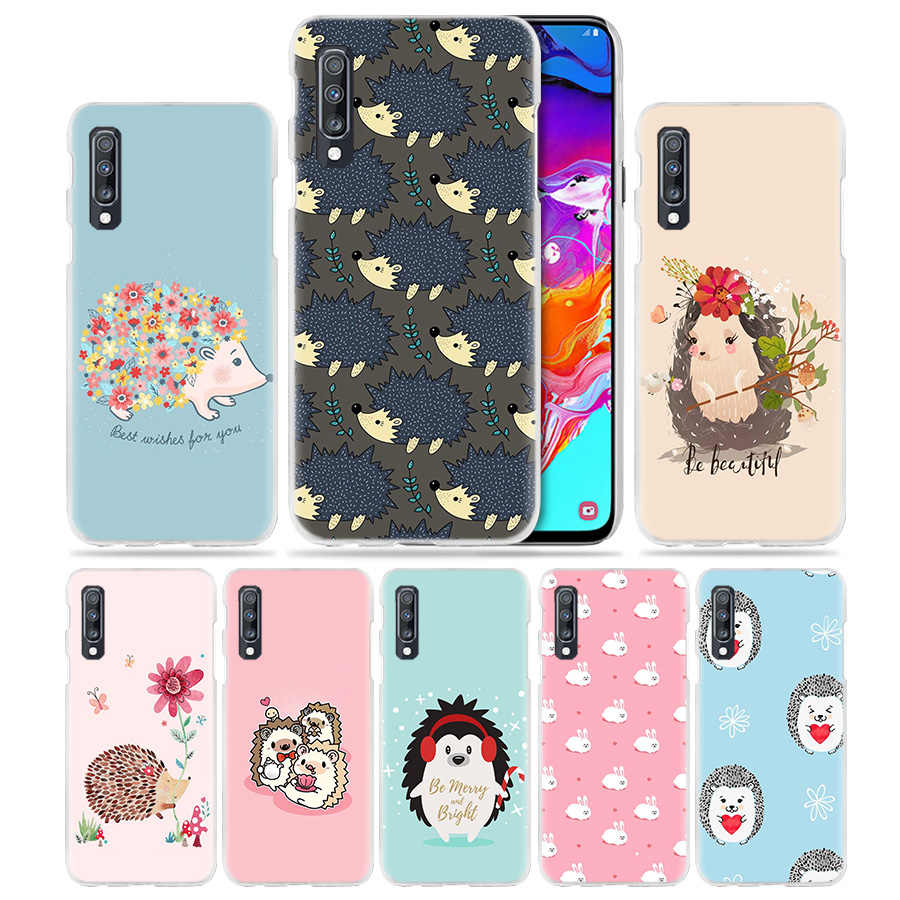 Kawai Hedgehog-Fall für Samsung Galaxy A50 A70 A20e A60 A40 A30 A20 A10 A8 A6 Plus A9 A7 2018 harte PC APhone Coque Abdeckung