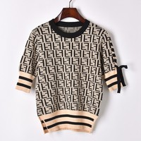 Vintage Summer Luxury Jacquard T Shirt Harajuku Women Letter Knitted Short Sleeve Casual Tee T Shirt