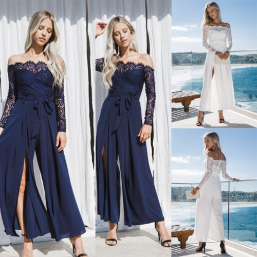 Amicable New Women Ladies Loose Clubwear V Neck Playsuit Bodycon Party Jumpsuit Romper Trousers White Dark Blue Preventing Hairs From Graying And Helpful To Retain Complexion Women's Clothing