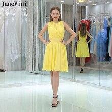 54480bea219 JaneVini Simple jaune robes de demoiselle d honneur courtes pour les femmes  o-cou paillettes perlées fermeture éclair dos en mou.