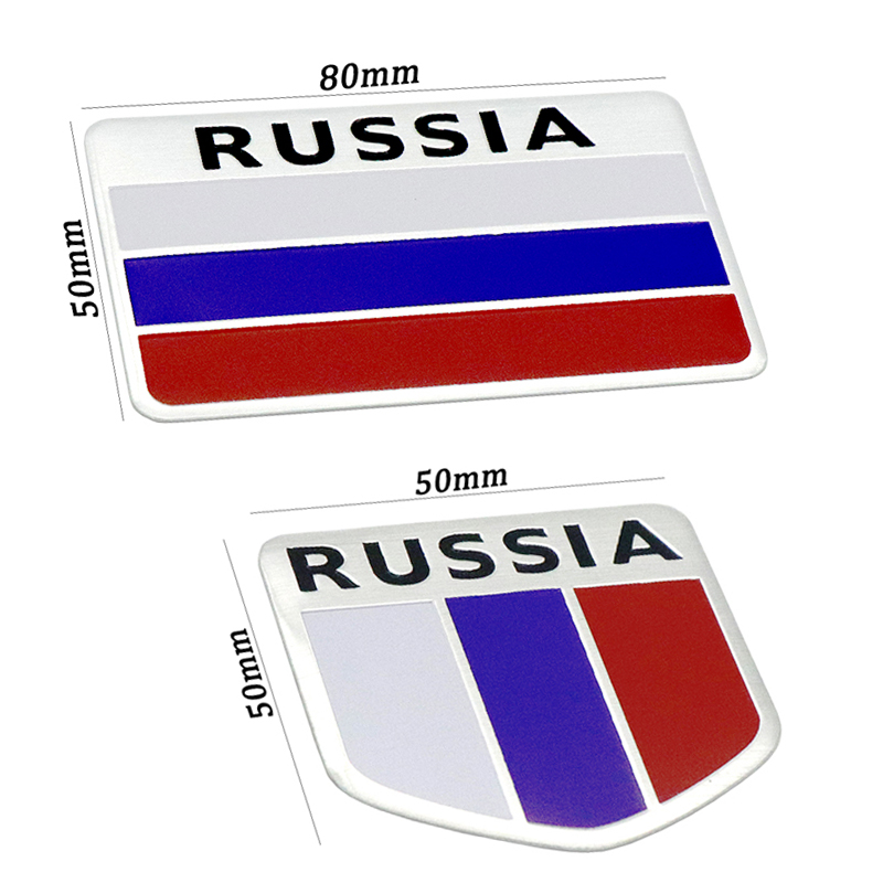Fashion quality 3D Aluminum Russia Flag car Badge Emblem 3M sticker accessories stickers For VW Audi chevrolet honda Car Styling 1 pair door protector anti collision canada flag emblem 3d car stickers creative car styling automobile accessories