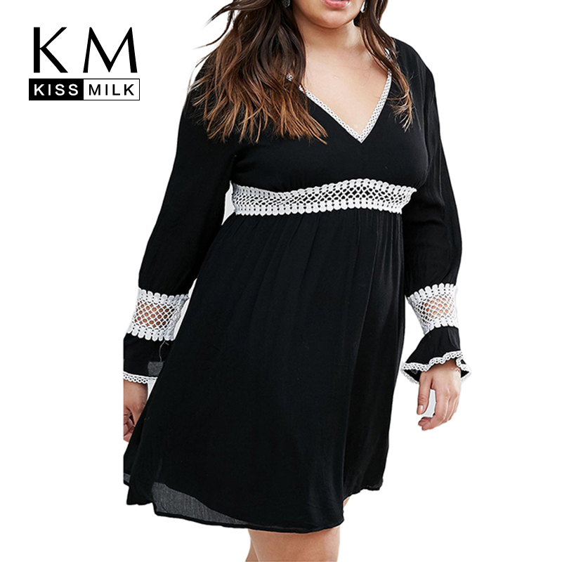 Detail Feedback Questions about Kissmilk Plus Size Women Casual Color Block  See Through Patchwork Mini Shirt Dress V Neck Long Sleeve Backless Straight  ... 82cac5d2176f