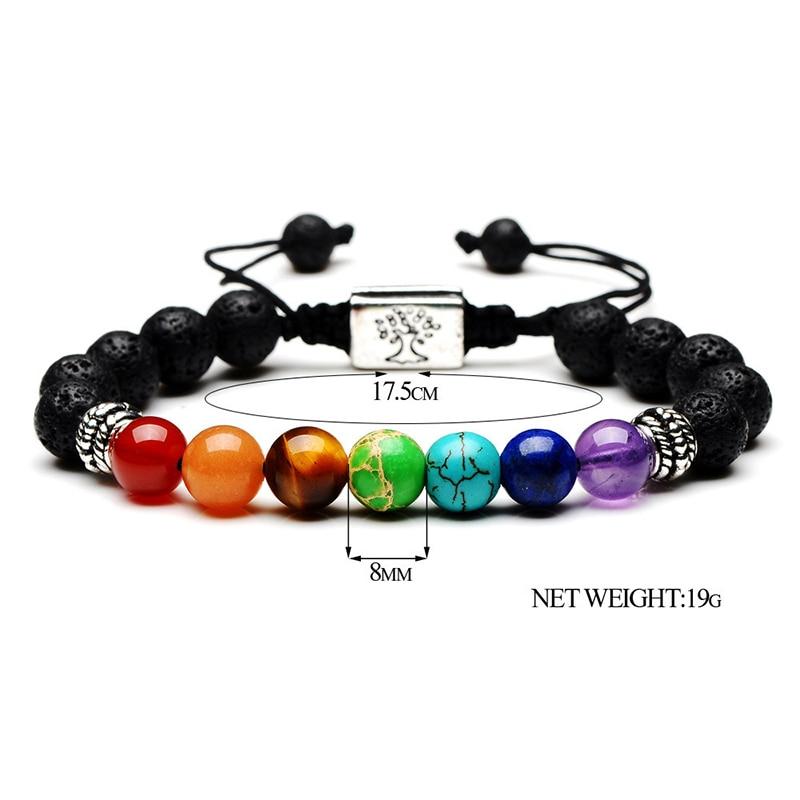 Yoga Jewelry 7 Chakra Tree Of Life OM Charm Bracelet Natural Stone Beads Rope Religious Buddhism Women Men Bracelet Bangles