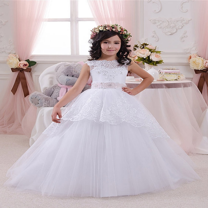 Sleeveless Lace Tulle Flower Girl Dress White Vintage Floral Appliques Kids Holy Communion Dress Ball Gowns with Sashes elegant lace floral appliques flower girls dress cute mint green sleeveless pearls beaded kids pageant ball gowns for communion