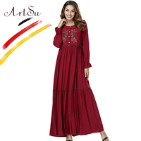 ArtSu Women Autumn Vintage Ethnic Dress 2018 Burgundy Long Sleeve Floral Embroidery Maxi Dress 4XL Plus Size Pleated Robe Femme