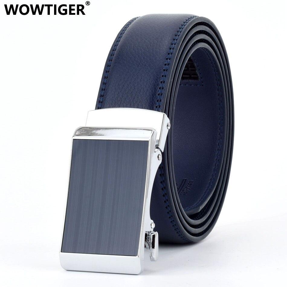 WOWTIGER Blue 3.5cm Fashion Designer Belts For Men Sliding Buckle Ratchet Men Belt Automatic Fashion Ceinture Homme