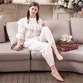 2017 New Summer Women's Short Sleeve Pajamas Sweet Princess Ruffles Sleepwear Pajamas Sets Vintage Lady Cotton Pyjamas Set