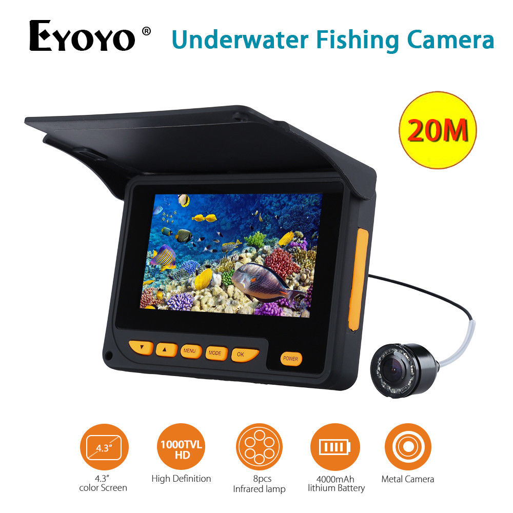 Eyoyo F05 4.3LCD HD 1000TVL Waterproof 20m Underwater Camera Video 8pcs Infrared LED Fish Finder Sea Ice Lake Fishing Monitor eyoyo 20m hd 1000tvl underwater ice fishing camera video fish finder 4 3 lcd 8pcs ir led 150 degrees angle