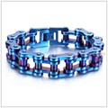 "9.25""*19mm 155g Whloesale Jewelry 316L Stainless Steel Blue Motorcycle Bike Chain Men's Bracelet Bangle High Quality Heavy Gift"