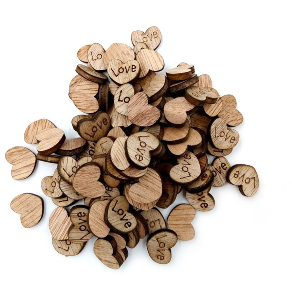 200pcs Tables Decorative Heart Wood Button Scrap Mini Table Scatter Booking Crafts Card 15mm Buttons Decor for Wedding Party