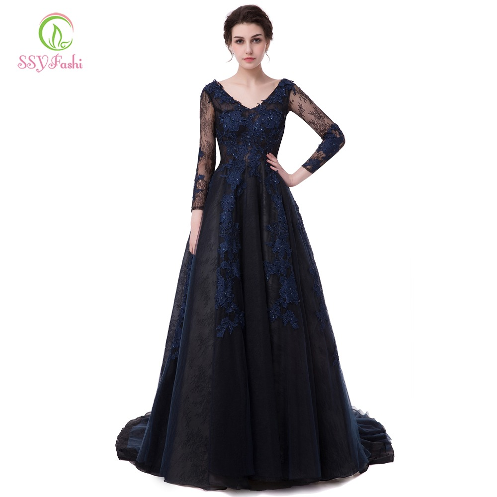 SSYFashion Banquet   Evening     Dress   Bride Luxury Navy Blue Lace Flower V-neck Long Sleeve Sexy Long Tail Prom   Dresses   Party Gown