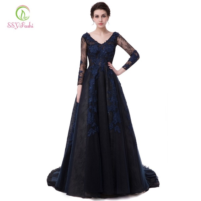 822613d097fcf Ssyfashion مأدبة مساء ثوب العروس الفاخرة الأزرق الداكن الرباط زهرة الخامس  الرقبة طويلة الأكمام مثير ذيل