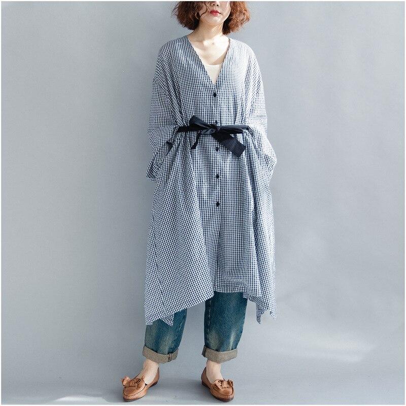 Плюс Размеры V шеи галстук талии хлопковая рубашка платье Проверьте плед с длинным рукавом Асимметричный более Размеры длинная рубашка и пу