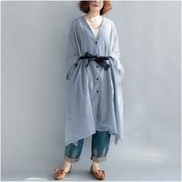 Plus Size V Neck Tie Waist Cotton Shirt Dress Check Plaid Long Sleeve Asymmetrical Oversize Long Shirt Button Front