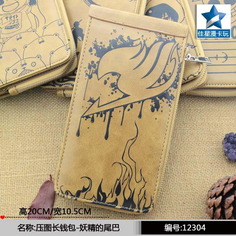 Ceative New Arrival: Anime Khaki PU Wallet Printed w-Association Fairy Tail Logo ceative new arrival anime gintama fairy tail naruto one piece conan totoro etc khaki pu long wallet purse