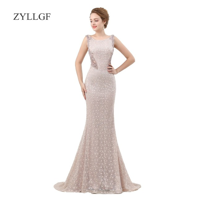 b0b2635ff07 Zyllgf Y Sheer Back Mother Bride Elegant Dresses Fishtail Boat