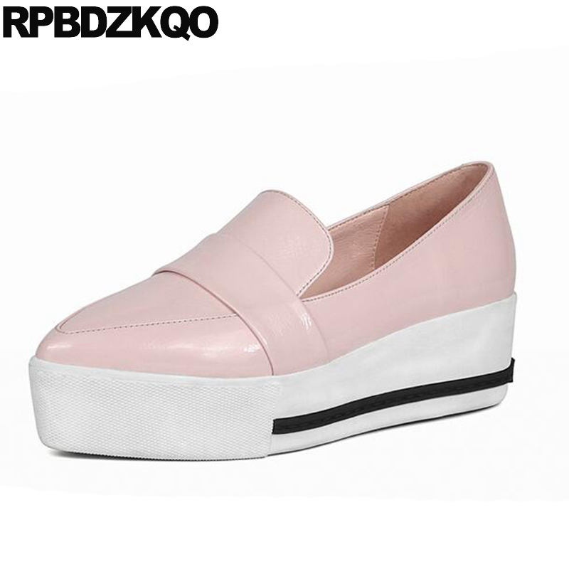 Genuine Leather Party Peach Elevator Designer Shoes Women Luxury 2018 Patent Creepers Pointed Toe Loafers Moccasins Metallic