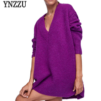 High Quality V Neck Sweater Women 2018 Autumn Winter Purple Mid Long Loose Wool Knit Pullover Oversized Pull Femme T465