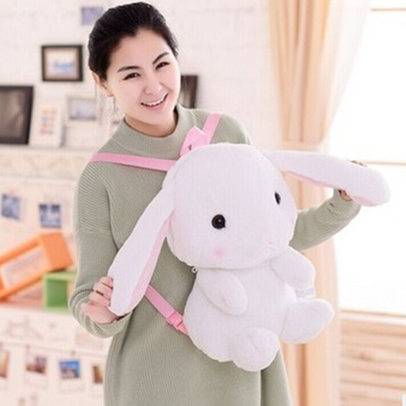 Hot! Cute rabbit backpack kids soft plush animal lolita doll toy bag lady kawaii Long Ears bunny rucksack for girls gift super cute plush toy dog doll as a christmas gift for children s home decoration 20
