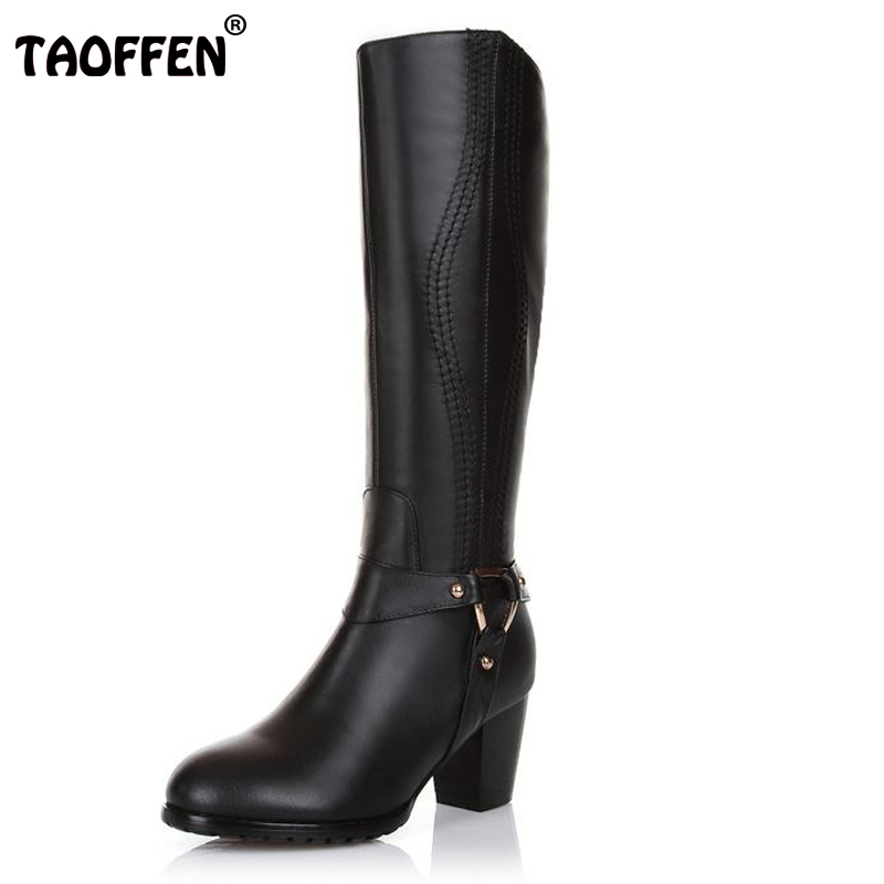 TAOFFEN Free shipping half short natrual genuine leather high heel boots women snow warm boot shoes R4634 EUR size 31-43 size 33 43 women real natrual genuine leather snow high heel ankle boots half short botas winter boot warm footwear shoes r7401