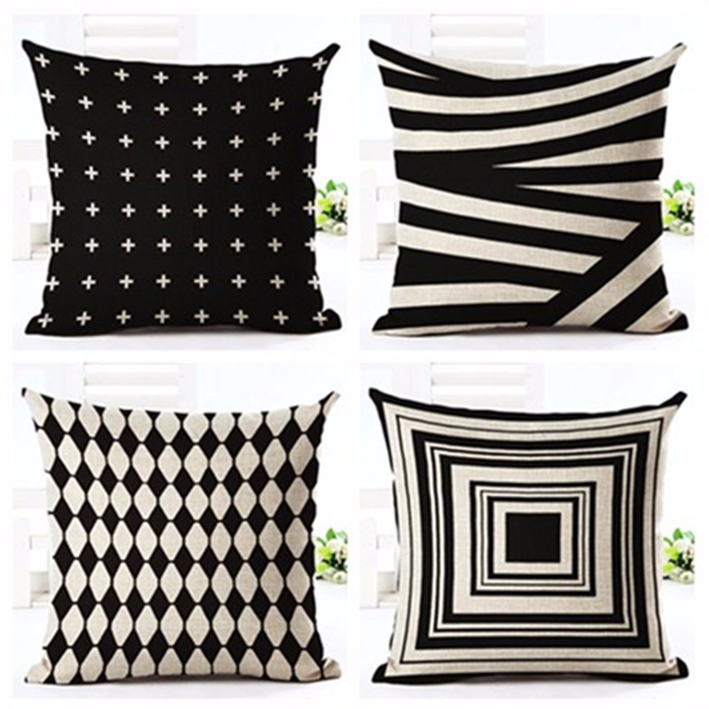 Bohemia Style Cushion Cover White and Black Geometric Pattern Cotton Linen Car Decorative Throw Pillowcase Pillow Case Sofa Home
