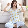 Más el Tamaño XXXL 2017 verano ropa de dormir pijamas v-cuello de dibujos animados manga corta pijama traje ajustado de las mujeres homewear suave