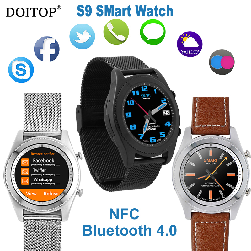 DOITOP Smart Watch NFC MTK2502C Heart Rate Monitor Bluetooth 4.0 Smartwatch WristWatch Bracelet Wearable devices for iOS Android
