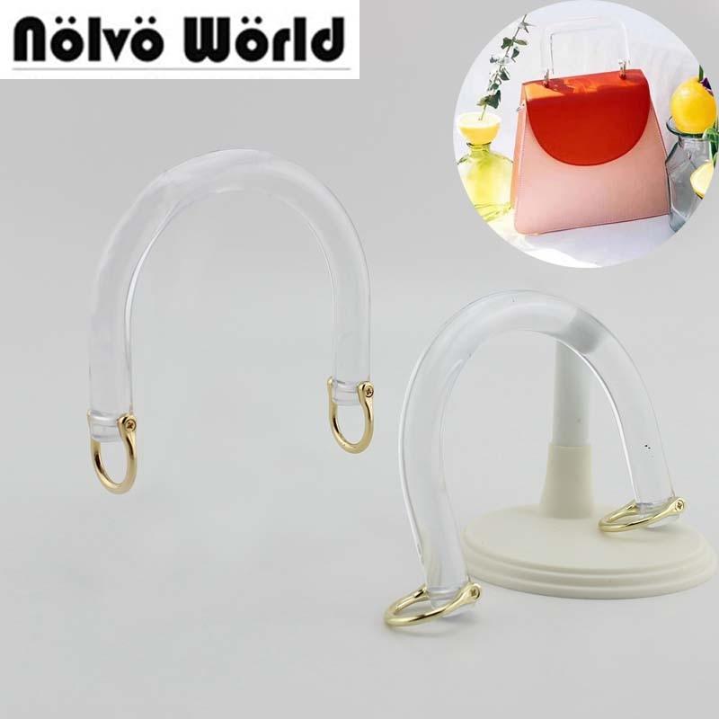 1 Pair=2 Pieces,12*7cm,12*10cm Resin Transparent Arch Bridge Tote Bags Handle Frame,Plastic Clear Bag Purse Bridge Handle