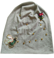 B 17918 Fashion 100 Cotton Good Stretchy Knitted Bee And Crystal Beanies MetalIC Punk Hat Design