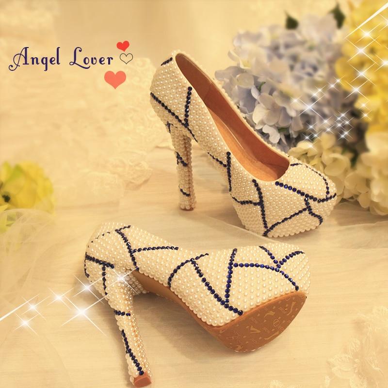 ФОТО Blue White Porcelain Pearl Pumps Bridal Wedding Rhinestone Shoes Women Party Dress High Heel Shoes Crystal Shoes Plus Size 43