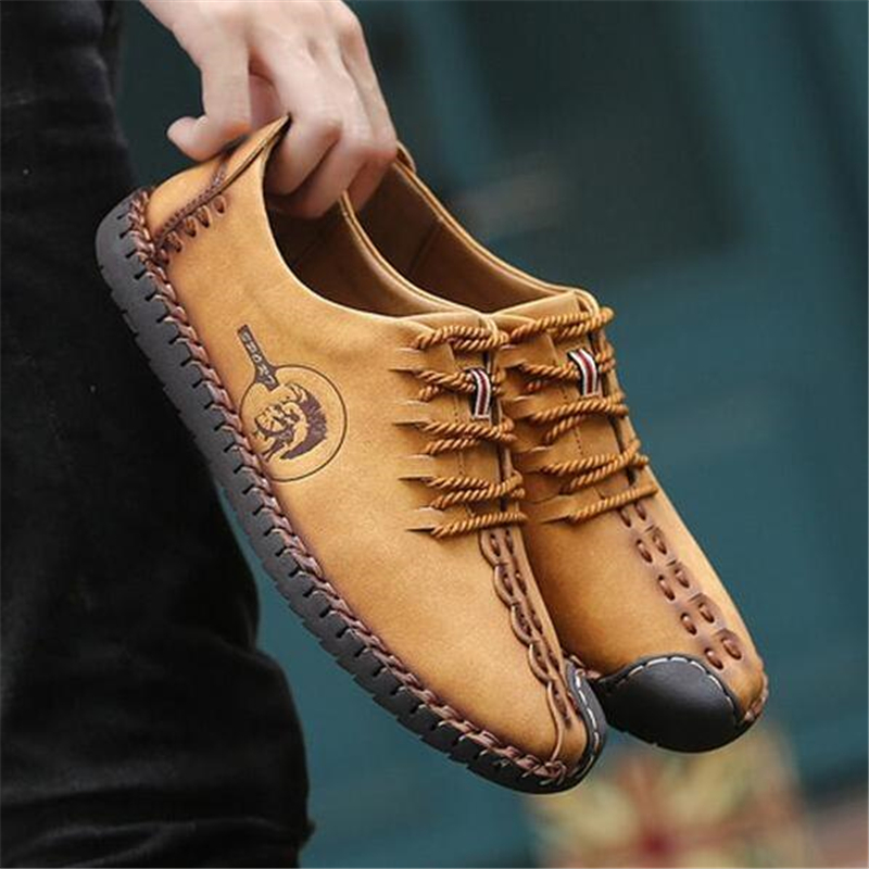 Mocasines yellow Cuir De Slip On Up black Lace En On Cuero Automne Hombres Hommes Casuales brown Black 2019 Calidad On brown Printemps Zapatos Up Split Appartements d7Hdw