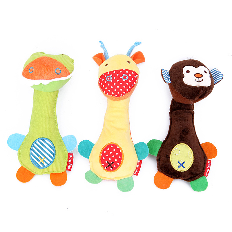 Cute Plush Animal Hand Bells Baby Toys Baby Rattle Ring Bell Toy