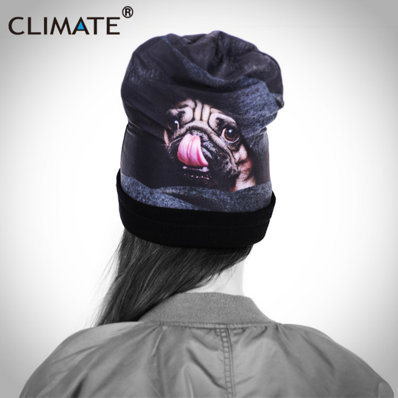 CLIMATE Women Girls Unique Winter Warm Beanies Hat Staring 3D Cute Dog  Printing Vivid Pug Dog Lovely Warm Knitted Hat Winter Cap 425947c0ff