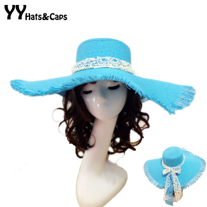 Baby Hat Girl Sun Hat Beach Hat Straw Hat Wide Brim Hat Wave Lace Hat Light Blue