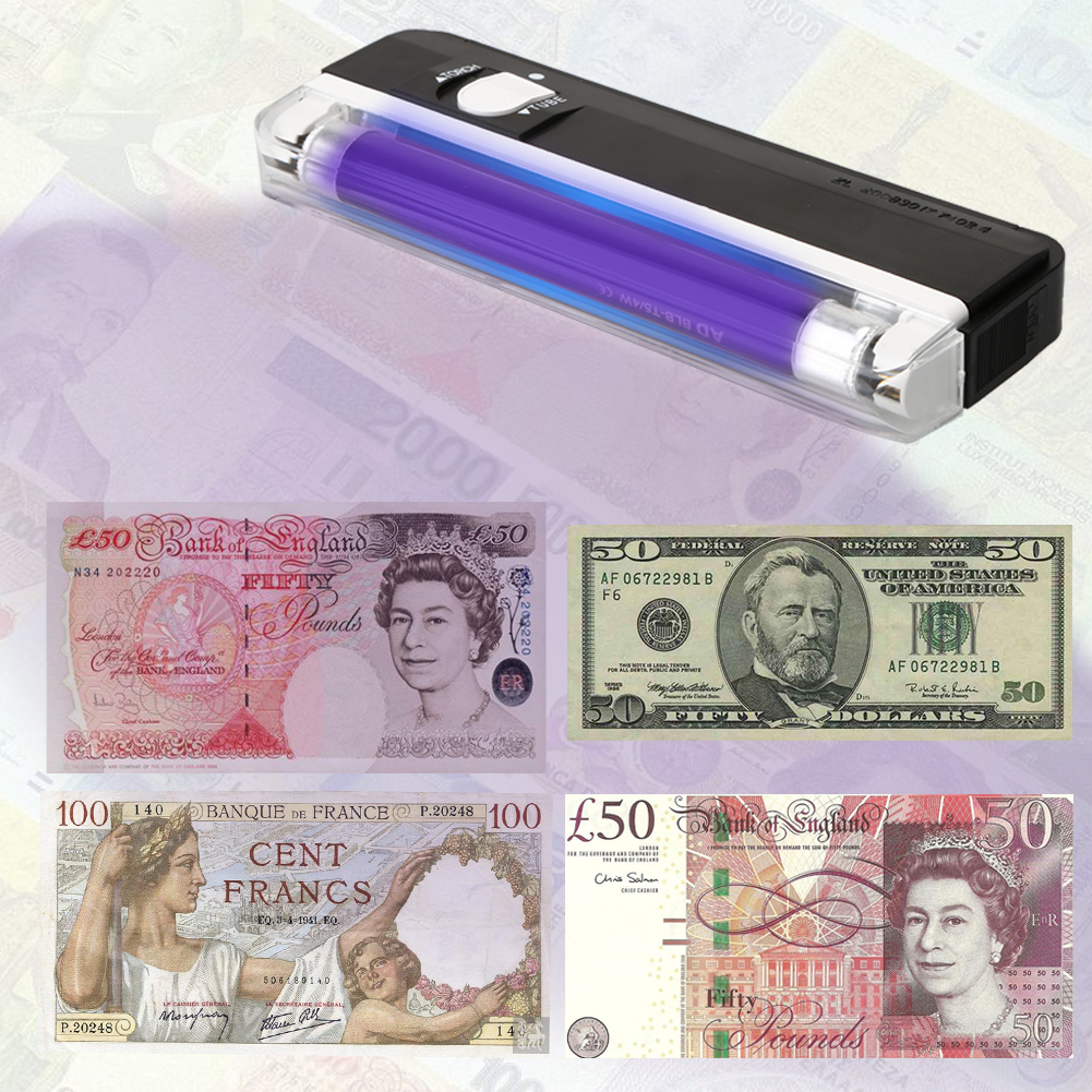 2 in1 Handheld UV Led Light Torch Lamp Counterfeit Currency Money Detector Fake Banknotes Passports Security Checker New