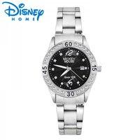 Disney Watches The 85701 Sun Profile Single Calendar Black Steel Watch Female