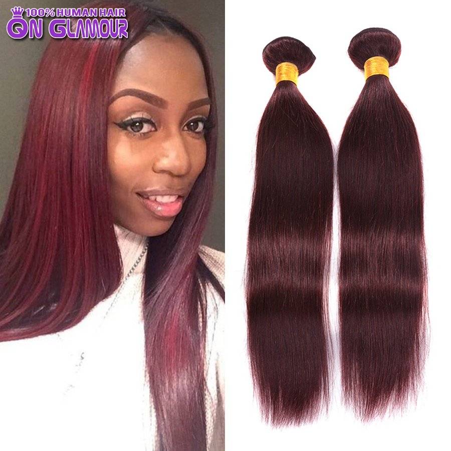 Good Quality Promotion For Valentine's Day Straight Raw Indian Virgin Hair Weave 99J Sexy Human 2 bundles can buy