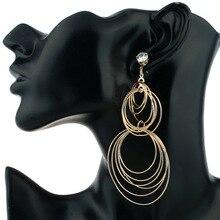 HOMOD 2017New Big Circle Geometric shape Smooth Large Ring Fashion Women Gold Silver Hyperbole Ear ring Metal Chic chic rhinestone faux crystal geometric shape ring for women