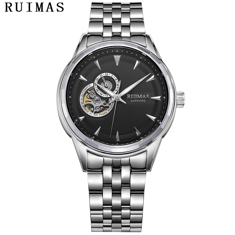RUIMAS Men Luxury Business Mechanical Watch With NH39 Mens Classic Analog Wristwatches Casual Stainless steel Clock Montre Homme-in Mechanical Watches from Watches    2