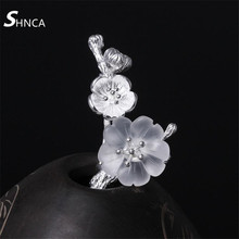 SHNCA Fine Jewelry Genuine 100% 925 Sterling Silver Jewelry Crystal Plum Flowers Brooch Fashion Pins Brooches For Women F019