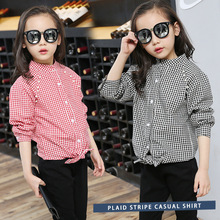 Children's plaid shirts, long sleeved shirts