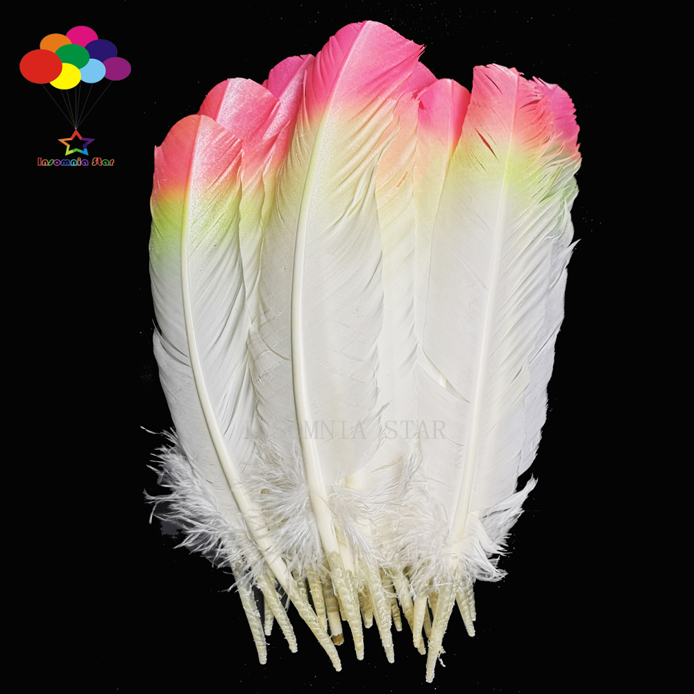 Turkey Feathers 50 Pcs 25-30cm10-12inch Three Colors Rose Yellow DIY Carnival Mask Headress Costume Crafts Accessories