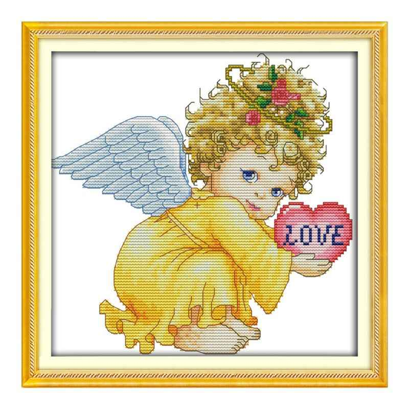 Angel Baby Girl   Handmade Needlework Counted 14CT Printed Cross Stitch Embroidery Kit Set Home Decoration