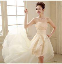Новинка женское платье невесты без бретелек с кружевом бальное