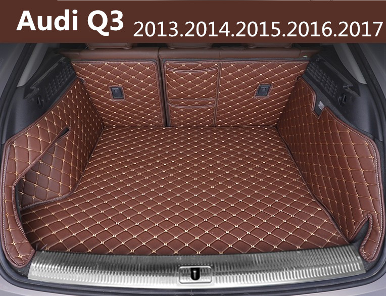 Auto Cargo Liner Car Trunk Mats For Audi Q3 2013.14.15.2016.2017 Surrounded by all Carpets High Quality Embroidery Leather Mats car rear trunk security shield cargo cover for volkswagen vw tiguan 2016 2017 2018 high qualit black beige auto accessories