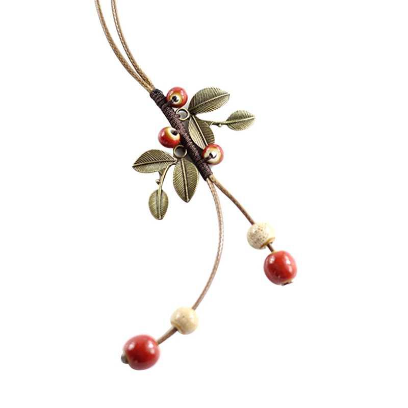 Богемные керамические бусы ожерелье винтажное Вишневое ожерелье из листьев античная латунь аксессуары ручная кожаная веревка национальное ожерелье
