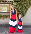 2016 summer mother daughter dresses stripe maxi mother and daughter clothes family look matching mother daughter clothes