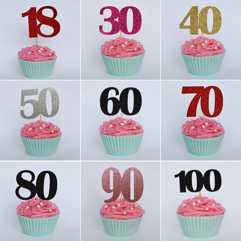 Number Decorated Cupcake Toppers Happy Birthday Party Cake