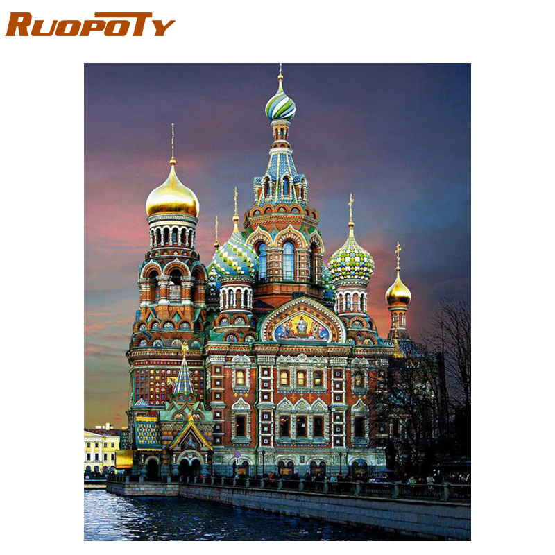 RUOPOTY 60x75cm Castle Frame Diy Painting By Numbers Landscape Acrylic Paint By Number Wall Art Picture Handpainted For Home Art